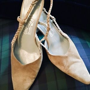 Authentic Ferragamo Suede Sling-back heels